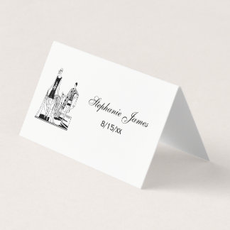 Vintage Art Deco Fashionable Ladies at the Beach Place Card