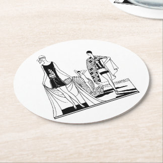 Vintage Art Deco Fashionable Ladies at the Beach Round Paper Coaster
