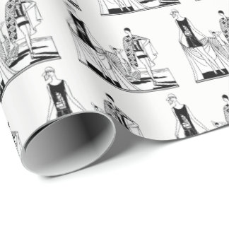 Vintage Art Deco Fashionable Ladies at the Beach Wrapping Paper