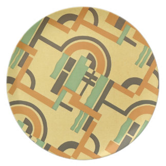 Vintage Art Deco Fine Art Geometric Abstract Party Plate