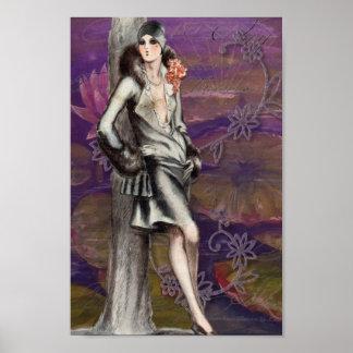 Vintage Art Deco Flapper Lady Design Poster