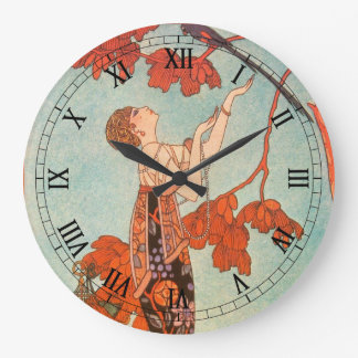 Vintage Art Deco, Flighty Bird by George Barbier Large Clock