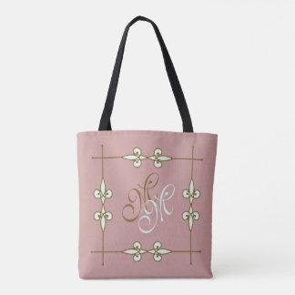 Vintage Art Deco Floral Ornamental Monogram Tote Bag