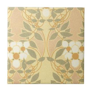 vintage art deco flower pattern ceramic tile
