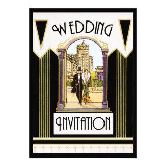 Vintage Art Deco Formal Wedding Couple Announcements