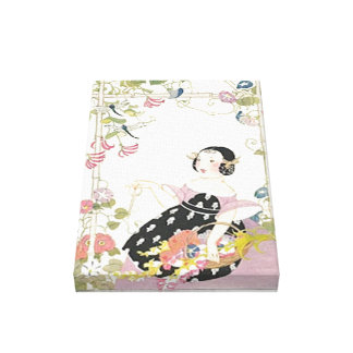 Vintage Art Deco Garden Small Stretched Canvas Gallery Wrapped Canvas