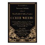 Vintage Art Deco Gatsby Golden Wedding Anniversary Custom Invitation