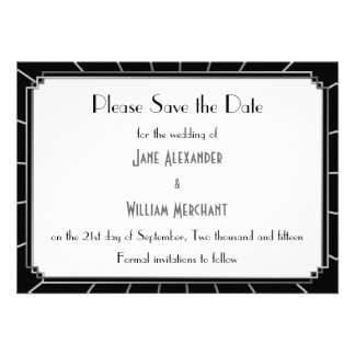 Vintage Art Deco Gatsby Style Save the Date Custom Invitations