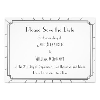 Vintage Art Deco Gatsby Style Save the Date Custom Invites