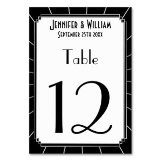 Vintage Art Deco Gatsby Style Wedding Table Number Table Card