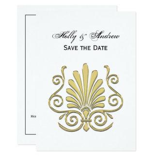 Vintage Art Deco Gold Plume Arabesque Card