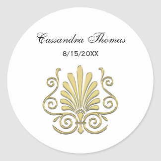 Vintage Art Deco Gold Plume Arabesque Classic Round Sticker