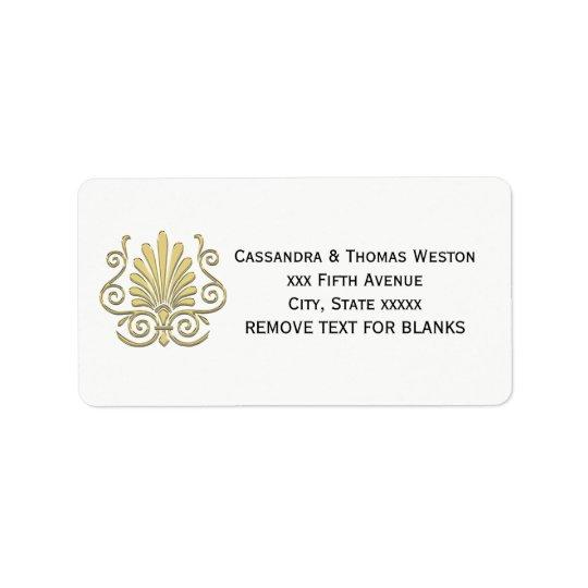 Vintage Art Deco Gold Plume Arabesque Label