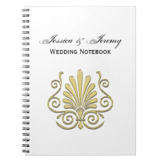 Vintage Art Deco Gold Plume Arabesque Notebooks