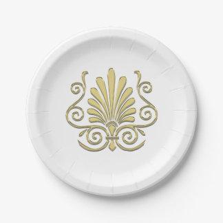 Vintage Art Deco Gold Plume Arabesque Paper Plate