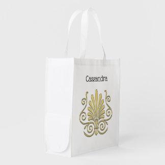 Vintage Art Deco Gold Plume Arabesque Reusable Grocery Bag