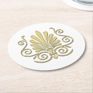 Vintage Art Deco Gold Plume Arabesque Round Paper Coaster