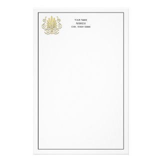 Vintage Art Deco Gold Plume Arabesque Stationery