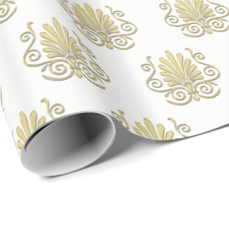 Vintage Art Deco Gold Plume Arabesque Wrapping Paper