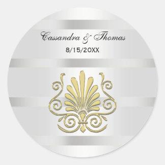 Vintage Art Deco Gold Plume R Envelope Seals Round Sticker