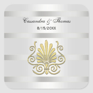 Vintage Art Deco Gold Plume SQ Envelope Seals Square Sticker