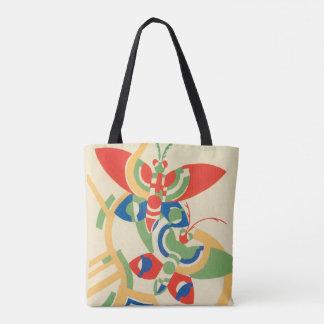 Vintage Art Deco Jazz Pochoir Garden Butterflies Tote Bag