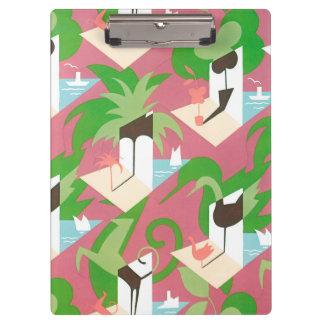 Vintage Art Deco Jazz Pochoir Palm Trees and Birds Clipboard