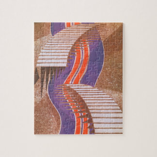 Vintage Art Deco Jazz Pochoir Stair Step Pattern Jigsaw Puzzle