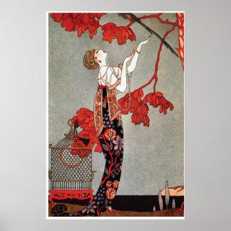 Vintage Art Deco L Oiseau Volage by Barbier Posters