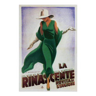 Vintage Art Deco La Rinascente 1900s Poster