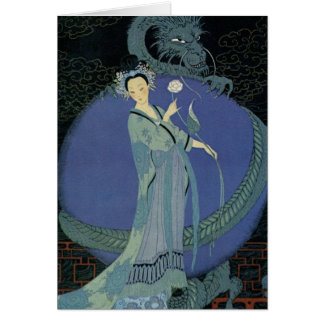 Vintage Art Deco Lady and Dragon Greeting Card
