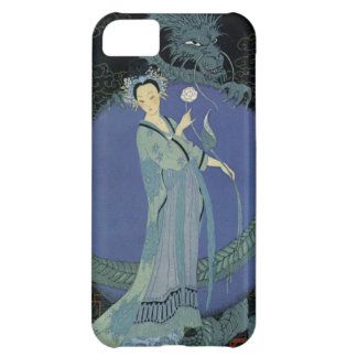 Vintage Art Deco Lady and Dragon iPhone Case iPhone 5C Covers
