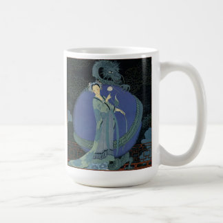 Vintage Art Deco Lady and Dragon mug