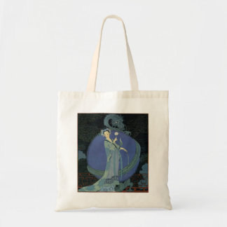 Vintage Art Deco Lady and Dragon Tote Bag