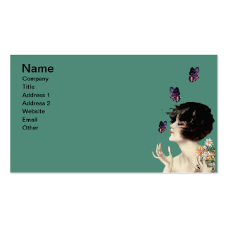 Vintage Art Deco Lady Butterfly Pretty Flowers Pack Of Standard Business Cards