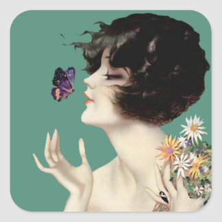 Vintage Art Deco Lady Butterfly Pretty Flowers Square Sticker