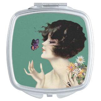 Vintage Art Deco Lady Butterfly Pretty Flowers Travel Mirror