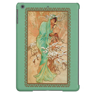 Vintage Art Deco Lady Green Golden Tree Case For iPad Air