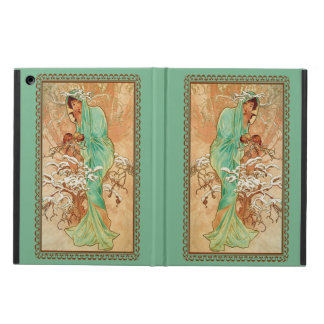 Vintage Art Deco Lady Green Golden Tree Cover For iPad Air