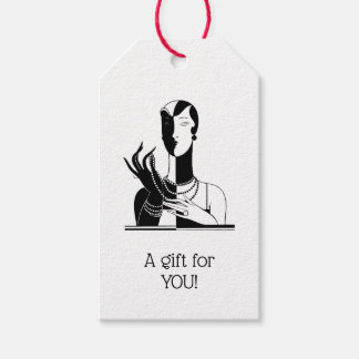 Vintage Art Deco Lady With Pearls Black Transp Gift Tags