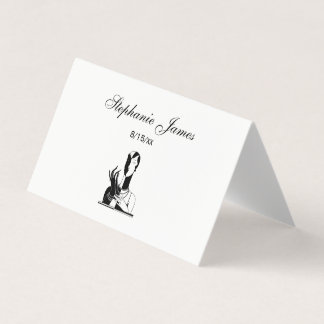 Vintage Art Deco Lady With Pearls Black Transp Place Card