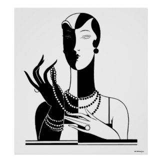Vintage Art Deco Lady With Pearls Black Transp Poster