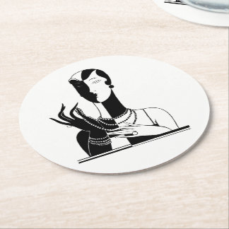 Vintage Art Deco Lady With Pearls Black Transp Round Paper Coaster