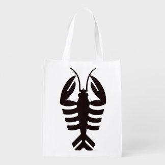 Vintage Art Deco Lobster in Black Grocery Bags