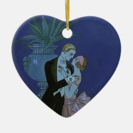 Vintage Art Deco Love Romance Newlyweds Wedding Ornament