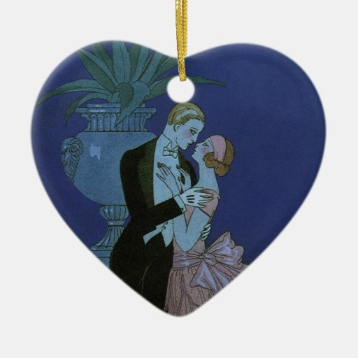 Vintage Art Deco Love Romance Newlyweds Wedding Christmas Ornament