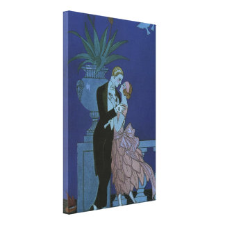 Vintage Art Deco Love Romance Newlyweds Wedding Gallery Wrapped Canvas