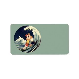 Vintage Art Deco Love Romantic Kiss Beach Wave Address Label