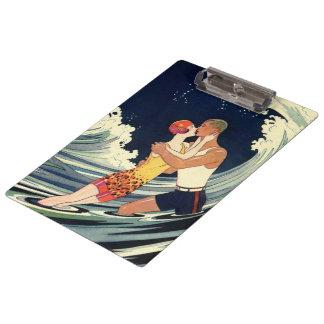 Vintage Art Deco Love Romantic Kiss Beach Wave Clipboard