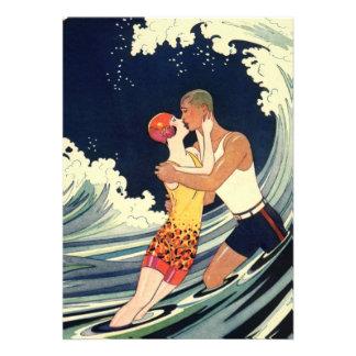 Vintage Art Deco Love Romantic Kiss Beach Wave Personalized Announcements